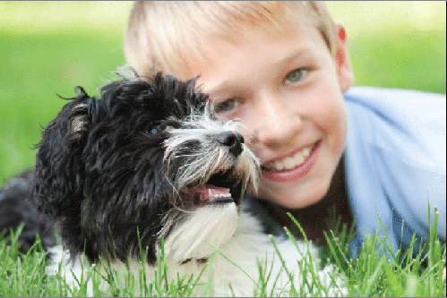 Boy and dog from Crescent vets